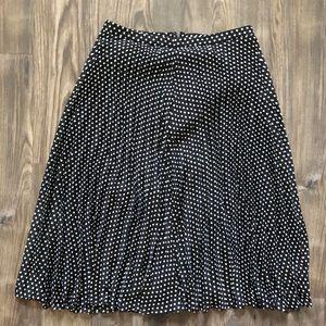LOFT Skirts - Black and White Polka Dot Pleated Skirt